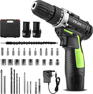 Sponsored Ad – JXJH Cordless Drill Driver Kit, 12V Electric Screw Driver, 38PCS Variable Speed Multifunctional Rechargeabl...