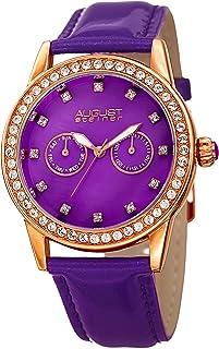 ساعة اوغست شتاينر بسوار جلدي ومينا ابيض للنساء - AS8234PU، انالوج، حركة كوارتز يابانية