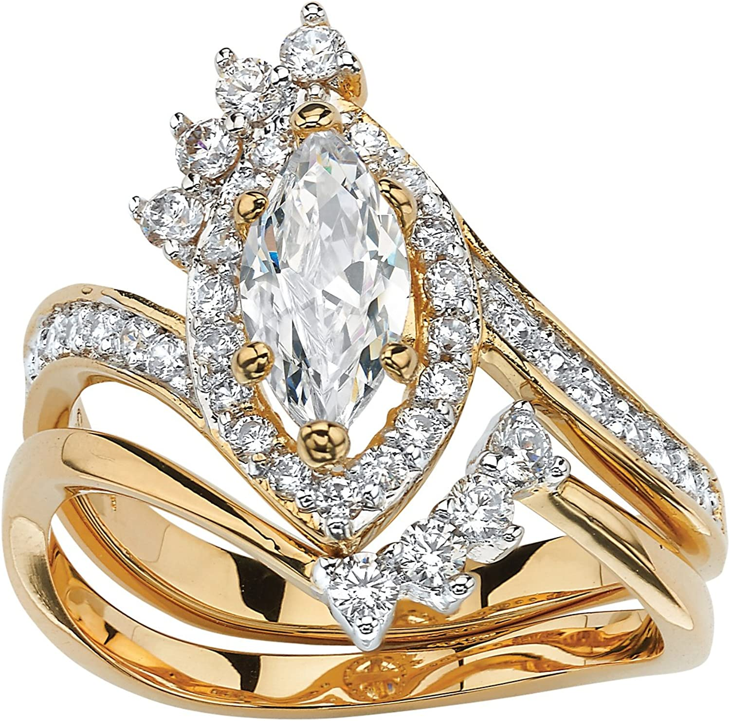 Palm Beach Jewelry Gold-Plated Marquise Zirconia Max New products, world's highest quality popular! 82% OFF Brida Cubic Cut