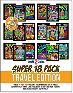 Super Pack of 18 Fuzzy Velvet Coloring Posters (Travel Edition) - Cities To Color From All Over The World