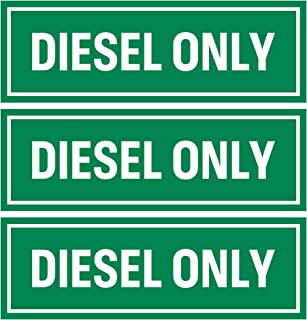 Diesel Only Sticker Sign (Pack of 3)   Adhesive Fuel Decal for Trucks, Tractors, Machinery and Equipment