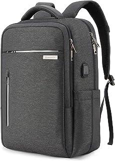 Tzowlaレディースメンズ15.6インチのPCパソコン大きいビジネスリュックおしゃれ防水多機能バックパックUSB充電ポート付きバッグ通学通勤出張旅行用(ダークグレー)