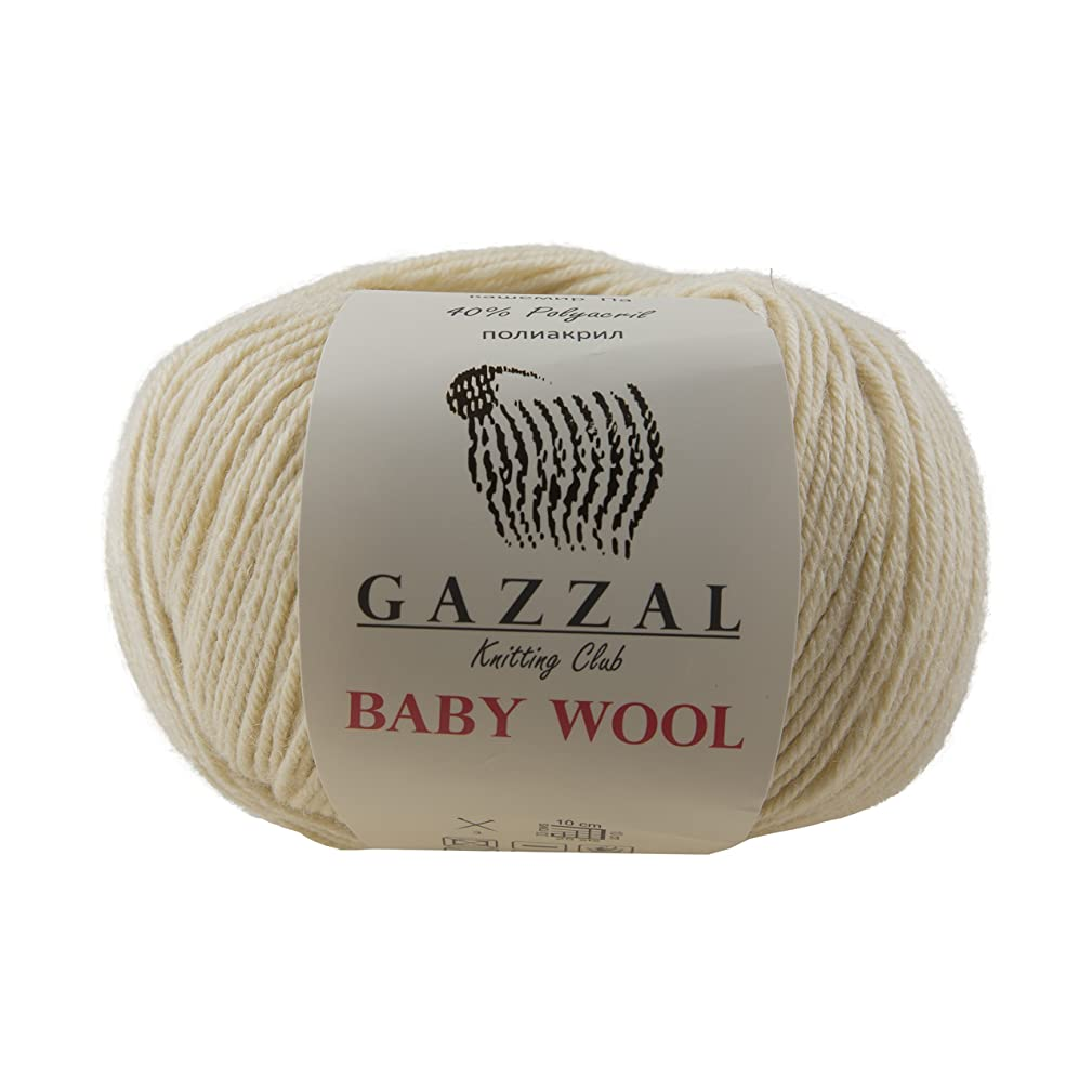 5 PACK - Gazzal Baby Wool 1.76 Oz (50g) / 218 Yards (200m) Fine Baby Yarn, 40% Lana Merino, 20% Cashmere Type Polyamide; (Beige - 829)