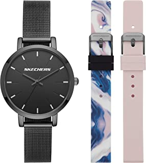 Skechers Women's Analog Quartz Metal and Silicone Casual Sports Watch