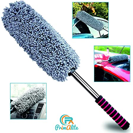 PrimAlite Car Cleaning Duster, Ultra Soft Microfiber Brush- Extendable Telescoping Handle Tool, Interior Exterior Multipurpose Smooth Cleaner for Car Office Home Use with Storage Bag, Lint Free- Grey
