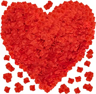 Red Rose Petals for A Romantic Night - 3600 PCS Fake Artificial Silk Valentines Day Flower Face Rose Petals - Great for Sp...
