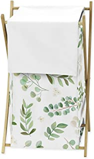 Sweet Jojo Designs Floral Leaf Baby Kid Clothes Laundry Hamper - Green and White Boho Watercolor Botanical Woodland Tropic...