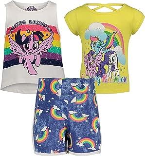 My Little Pony Girls' 3 Piece Tank Top, Tee & Short Set