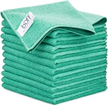 """Buff Pro Multi-Surface Microfiber Towel - 12 Pack   Premium Cleaning Cloth   Clean, Dust, Polish, Absorb   Small 12""""x12"""" (..."""