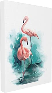 Stupell Home Décor Flamingo Duo Watercolor Texture Stretched Canvas Wall Art, 16 x 1.5 x 20, Proudly Made in USA