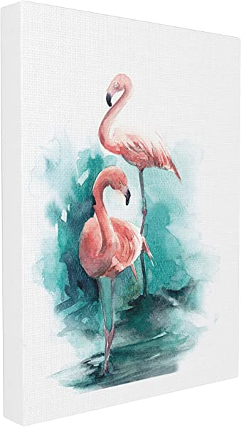 Stupell Home D Cor Flamingo Duo Watercolor Texture Stretched Canvas Wall Art 16 X 1 5 X 20 Proudly Made In USA