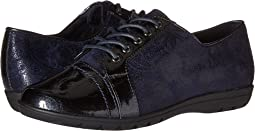 Navy Paisley Faux Suede/Navy Pearlized Patent