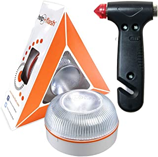 HELP FLASH - luz de Emergencia AUTÓNOMA preseñalización Peligro y Linterna, homologada, DGT, V16, activación AUTOMÁTICA + ...
