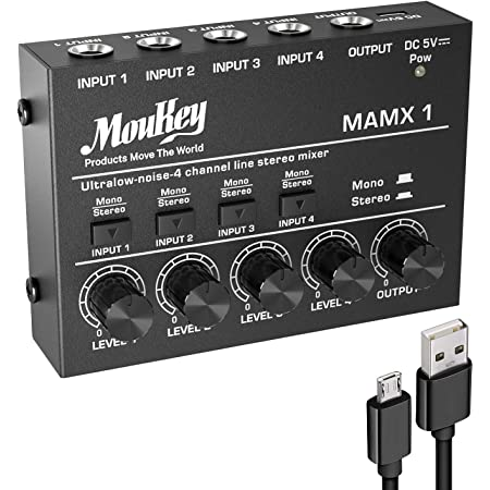Moukey Ultra Low-Noise 4-Channel Line Mixer for Sub-Mixing, DC 5V 4-Stereo Mini Audio Mixer, Ideal for Small Clubs or Bars. As Microphones, Guitars, Bass, Keyboards or Stage Mixer-MAMX1