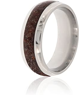 New Dinosaur Bone Ring Made with Titanium and Handcrafted with Dinosaur Bone Fossil - USA Made Comfort Fit Wedding Bands 8mm Wide