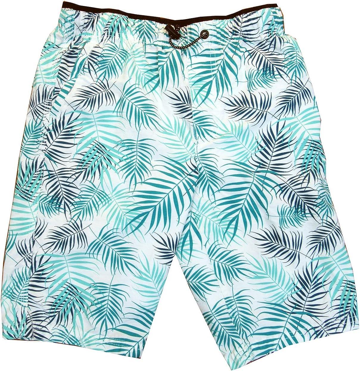 Univibe Big Boys' (8-20) Bungee Waist Folha Leaf-Print Shorts X-Large