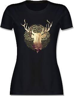 Shirtracer Oktoberfest & Wiesn Damen - Hirsch - Tailliertes Tshirt für Damen und Frauen T-Shirt