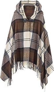 Women's Vintage Plaid Knitted Tassel Poncho Shawl Cape Button Cardigan