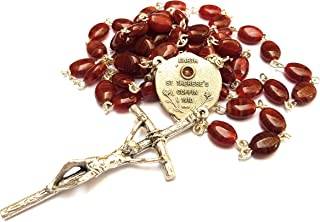 RELIC Rosary Reliquary Earth from ST Therese 'S Coffin Therese of Child Jesus Holy Face Carmelite Nun Little Flower Patron France Russia HIV AIDS sufferers Gardener Florist Loss of Parent (Burgundy)