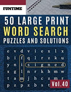50 Large Print Word Search Puzzles and Solutions: FunTime Activity brain teasers Book | Wordsearch Easy Quiz Game for Adul...