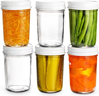 Glass Mason Jars Full Mouth - 8 Ounce - (6 Pack) Glass Jars with Metal Airtight Lids Perfect Meal Prep, Food Storage, Cann...