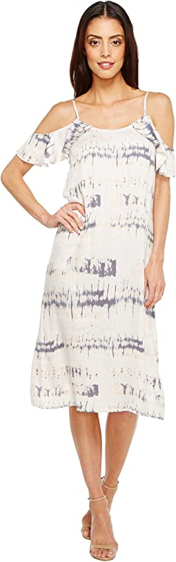 Shibori Print Flounce Sleeve Slip Dress