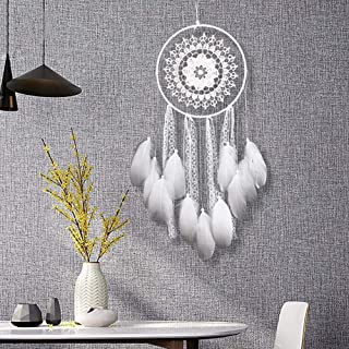 ESUPPORT Girly White Dream Catcher Traditional Handmade Craft Feather Ornament Wall Hanging Home Decor