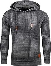 Satankud Mens Pullover Hoodie Long Sleeve Hooded Sweatshirt Square Pattern