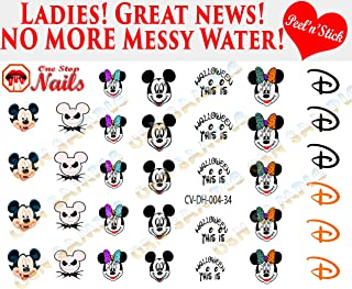 Mickey and Minnie Halloween V4. Set of 34 clear vinyl Peel and Stick (NOT Waterslide) nail art decals/stickers by One Stop Nails.