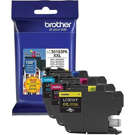 Brother Printer LC30193PK Super High Yield XXL 3 Pack Ink Cartridges- 1 Ea: Cyan/Magenta/Yellow Ink