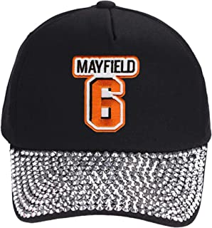 Baker Mayfield Hat - Cleveland Football Adjustable Women's Cap (Black Rhinestone)