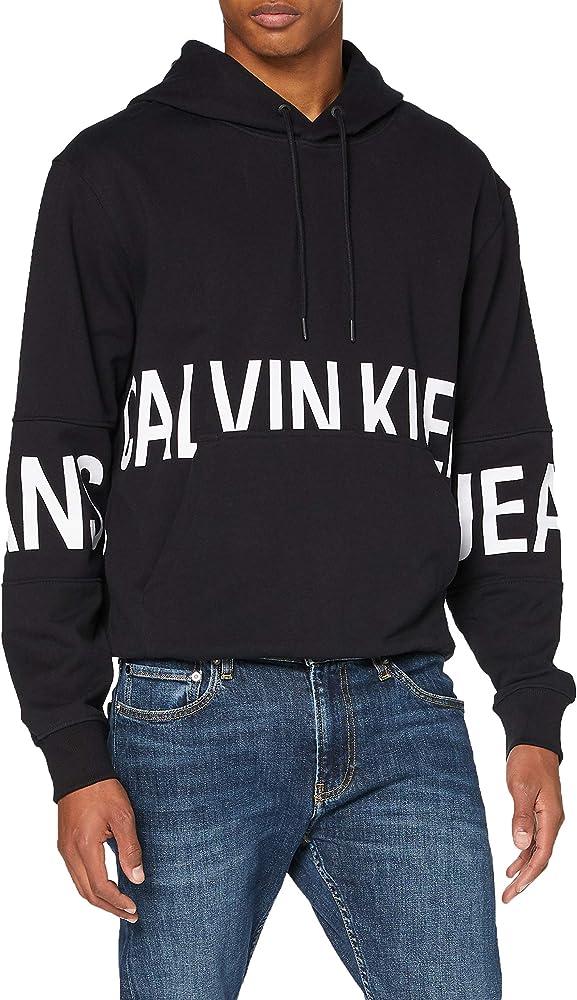 Calvin klein blocking logo hoodie, maglione uomo,felpa con cappuccio per uomo,in cotone 100% J30J316519.