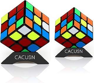 CACUSN 立体パズル 2個セット(3×3、3×3) 令和進化版 回転スムーズ 競技用キューブ 世界基準配色 パズルスタンド付き