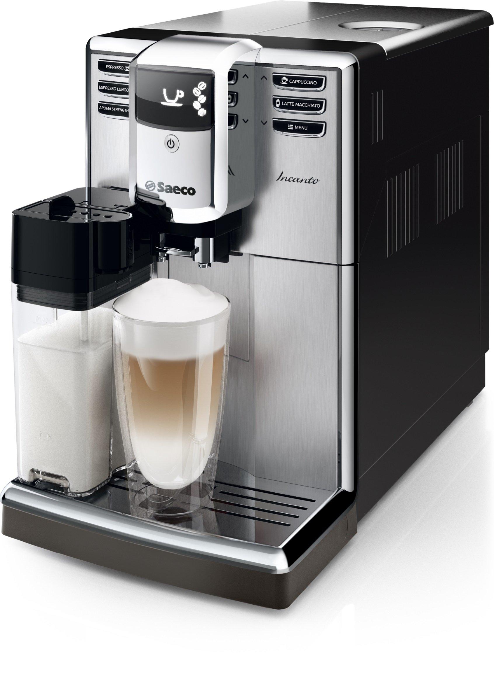 Philips Saeco Saeco Incanto HD8917/01 Cafetera espresso automática con jarra de leche, 1850 W, 1.8 litros, De plástico, Acero inoxidable, Negro y metalizado: Amazon.es: Hogar