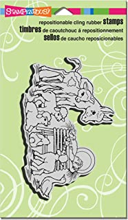 STAMPENDOUS Cling Rubber Stamp, Barnyard Nativity