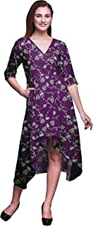 Bimba Cotton Floral Womens V Neck Asymmetrical Pocket ShiftDressShort