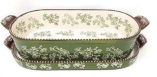 Temp-tations 2 Qt Squoval Baker w/Lid-It (Tray) & Plastic Cover, Casserole Dish (Floral Lace Shamrock) EW-A