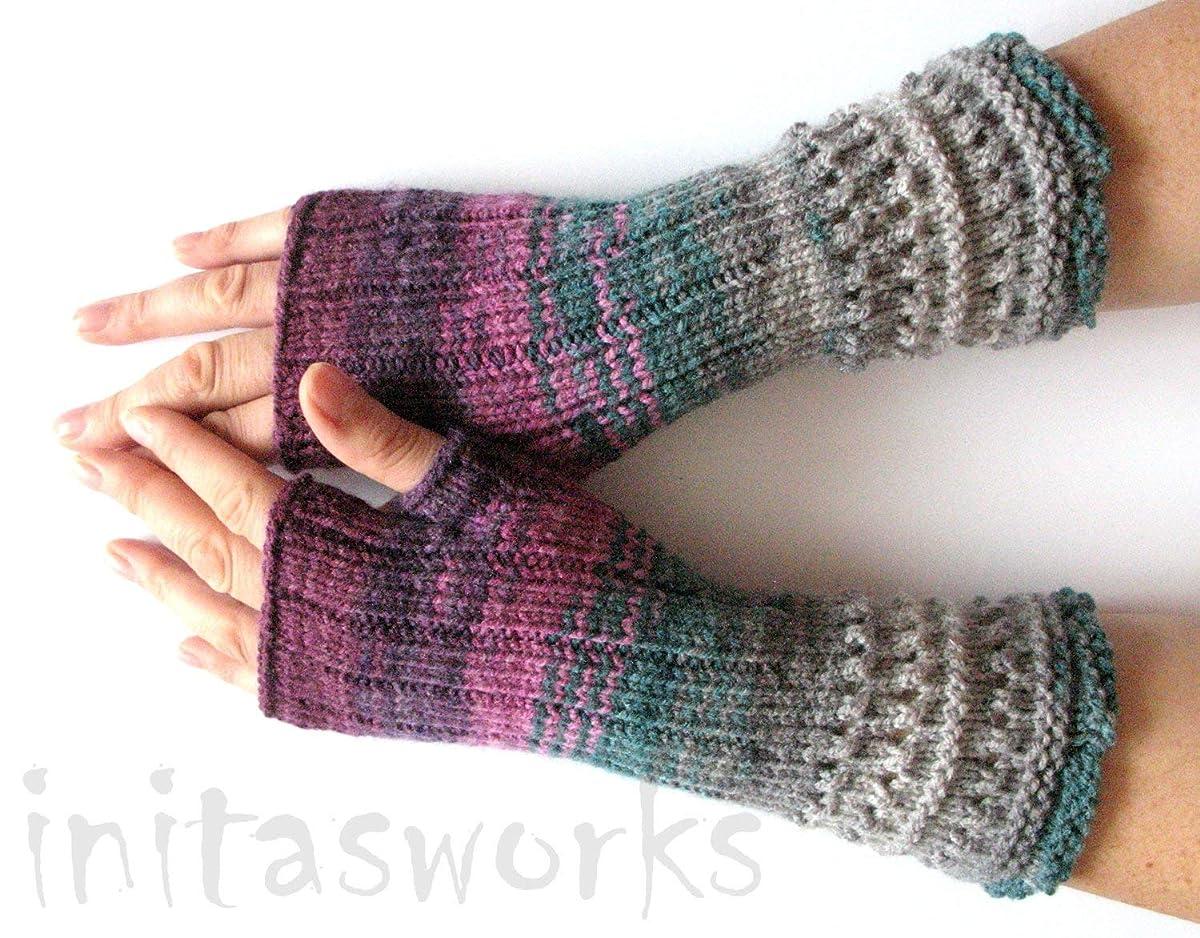 Fingerless Gloves Mittens wrist warmers Violet Purple Blue Burgundy Green Gray D