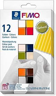 Staedtler FIMO Soft, Assortiment de 12 demi-pains de pâte FIMO aux couleurs naturelles assorties, Pâte à modeler durcissan...