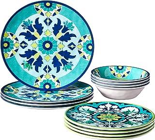 Certified International GRAN12PC Granada Melamine 12 pc Dinnerware Set, Service for 4, Multicolored
