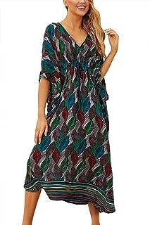 L-Peach Lång sommar- och strandklänning med etniskt tryck, kimono, maxiklänning, kaftan, överdragsklänning