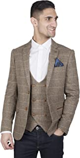 Marc Darcy Mens Tan Tweed Jacket Blazer with Velvet Country Trims and Lining