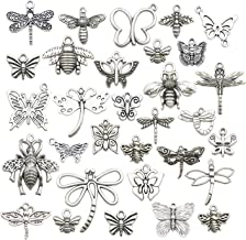 WOCRAFT 100g About (80-84pcs) Craft Supplies Mixed Butterfly Dragonfly Bee Insect Charms for Jewelry Making Crafting Findings Accessory for DIY Necklace Bracelet M295