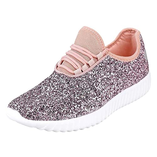 Womens Girls Glittery Running Pink Flat Lace up Trainers Ladies Sneakers Shoes