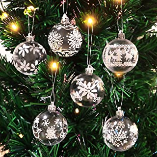 Unomor Christmas Tree Ornaments, 6 Patterns 30 ct White Clear Shatterproof Christmas Ornaments with Snowflake, Snowman, Christmas Tree and Elk Design-60MM