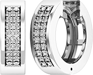 HIPHop 14K White Gold Over 0.50Ct Cluster Men/'s Stud Earrings Valentine Gifts