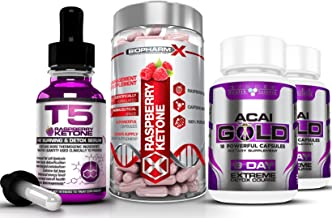 T5 Raspberry Ketones Serum 30ml Raspberry Ketone Diet Pills 60caps Acai Berry Gold 2x19caps Maximum Strength Slimming Weight Loss Detox Bundle Estimated Price : £ 16,99