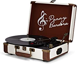 Penny Bandora Portable Vinyl Record Player with Speakers & Bluetooth - Wireless - Retro Vintage Suitcase Turntable - 3-Speeds - Recording to USB - Rechargeable Battery - RCA Output - Auxiliary Input