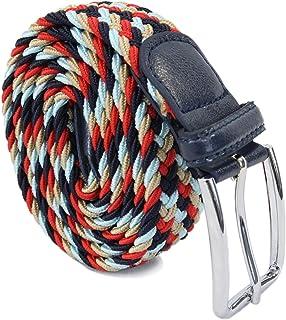 Leoodo Cinturón elástico unisex con hebilla de metal rectangular de tejido trenzado, cinturón elástico para mujeres y hombres