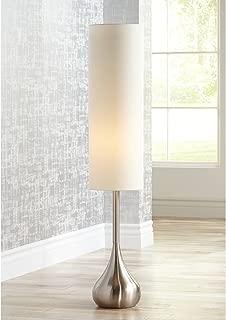 Moderne Mid Century Modern Floor Lamp Brushed Steel Droplet Tall Cotton Cylinder Shade for Living Room Bedroom Office - Possini Euro Design